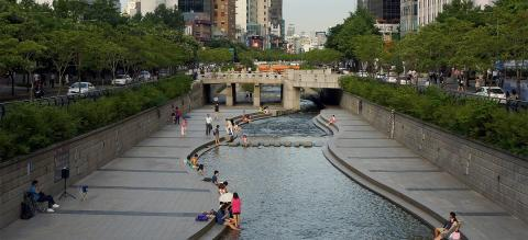 Cheonggyecheon: urban renewal project and public recreation space in Seoul, South Korea.